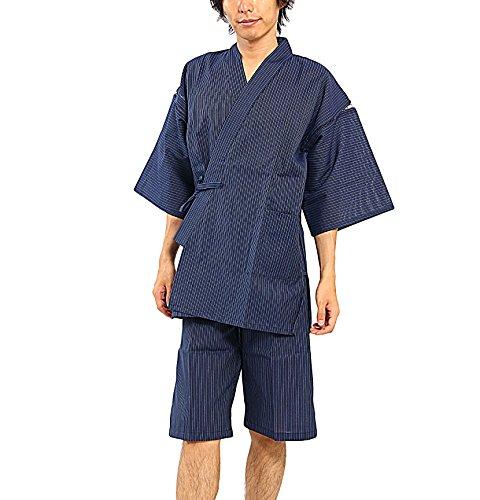 江戸てん しじら織り甚平 糸・縫製・染色全て日本製 メンズ 子持縞紺5006NV LL