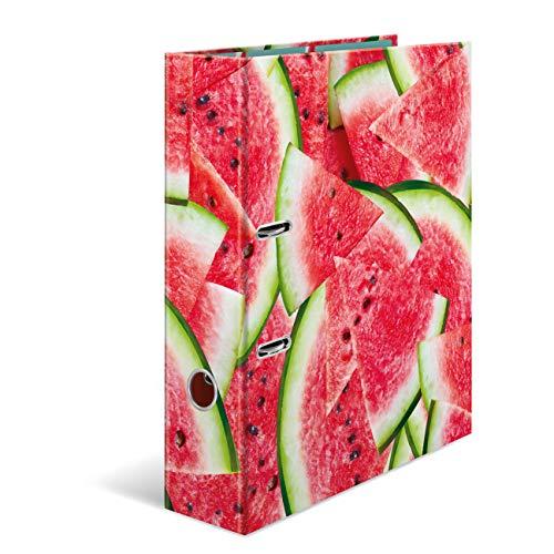 HERMA 7104 Motiv-Ordner DIN A4 Früchte Wassermelone, 7 cm breit aus stabilem Karton mit hochwertigem Innendruck, Ringordner, Aktenordner, Briefordner, 1 Ordner