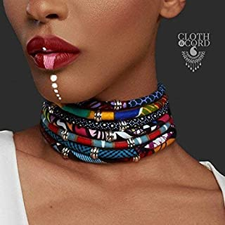 The Half Moon Choker | African Print Choker | multi-layered choker | Blue yellow green turquoise pink | Afrocentric | Cloth & Cord