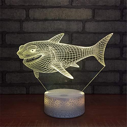 LBJZD luz de noche Lindo Pez Tiburón 3D Luz De Noche Animal Luminarys 3D Lámpara De Mesita De Noche Led Usb Bebé Lámpara De Humor Para Dormir Regalo Para Niños Con Mando A Distancia