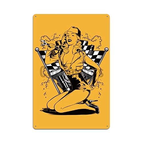 Ami0707 Plaque Vintage Sexy Lady Motorcycle Style Signs Vintage Wall Plaque Decor Pub Cafe Garage Home Metal Tin Sign Art Cartoon Printing Plate Poster 20x30cm 5