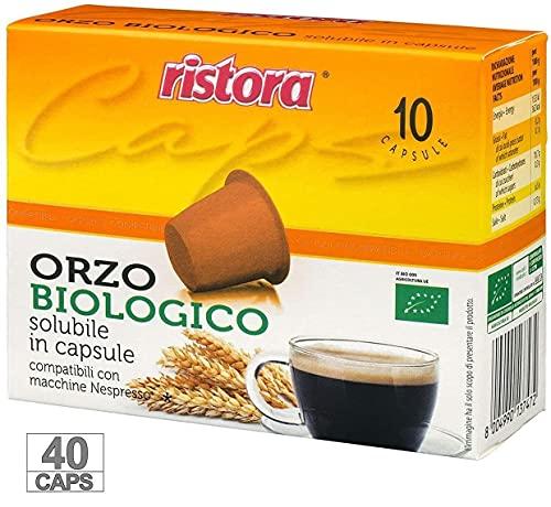 Ristora 40 Capsule Orzo Compatibili Macchine Nespresso Macchina Da Caffè Cialde Gusto Intenso Buono Cremoso Gustoso Preparato Macchinetta Caffe Solubile Bevanda Biologica Respresso (4 X 10PZ)