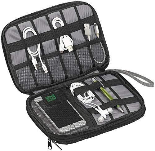 Xcase Bolsillos para Cables: Organizador de electrónica y Cables con Compartimento para Tablet PC de hasta 8'(20 cm) (TV Palo Almacenamiento)