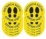 Naomo Pegatinas Suelo Mantener Distancia Social de Seguridad Circulares 12 Pulgadas, 10 Unidades, (Están en inglés) (Negro/Amarillo)
