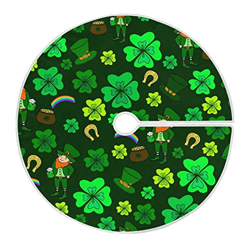 One Bear St. Patrick's Day Tree Skirt Large Shamrocks Green Clover Leaves Mat Xmas Holiday Home Party Decorations 48inch