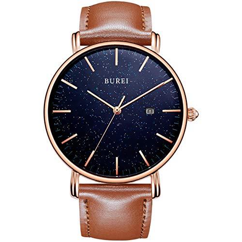 BUREI Herren Ultra Thin Minimalist Uhr Classy Date Display Blaues Sternenzifferblatt Roségoldzeiger mit braunem Lederband