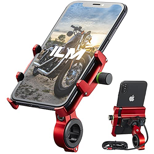 """ILM Motorcycle Phone Mount Aluminum Upgraded USB 3.0 Quick Charge 360° Rotation Bike Holder Accessories Compatible with iPhone 12 XS XR 11 6s 7 Galaxy S10 S8 S20 Holds Phone up to 3.9"""" Wide (Red)"""