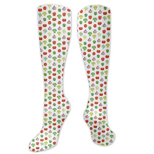 Bingyingne Unisex personalizado, con temática alimentaria, patrón repetitivo simple con pimiento, cebolla, brócoli y tomates, calcetines hasta la rodilla, Cool Sport Travels, medias largas de 60 cm