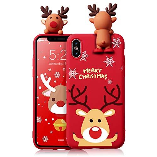 ZhuoFan Funda para Apple iPhone 7 Plus, Cárcasa Silicona 3D Muñecas con Dibujos Navidad Diseño Suave Gel TPU Antigolpes de Protector Case Fundas para Movil Apple iPhone 7 Plus / 8 Plus, Alce
