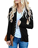 Traleubie Women's Long Sleeve V-Neck Button Down Knit Open Front Cardigan Sweater Black M