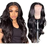 4x4 Lace Front Wig Human Hair Body Wave Lace Closure Wig Brazilian Virgin Hair Body Wave Front Lace Wigs Human Hair Wavy Human Hair Wig Human Hair Lace Front Wigs Pre Plucked Bleached Knots 24 Inch
