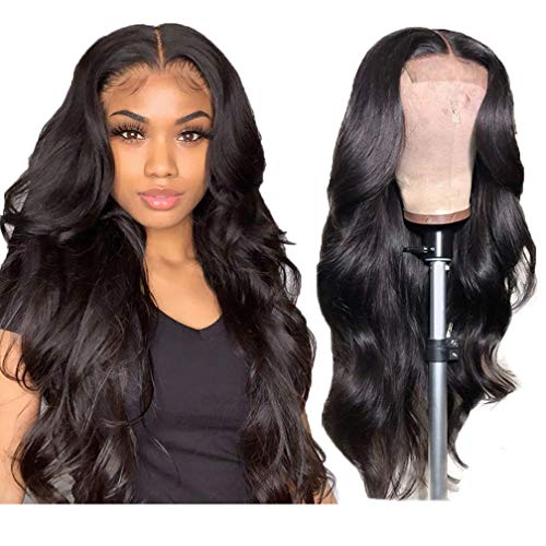 Margarety Body Wave Closure Wig Human Hair 4x4 Lace Closure Wigs Human Hair Body Wave Natural Human Hair Wigs for Black Women Pre Plucked Wavy Human Hair 4x4 Lace Closure Body Wave Wig 22 inch