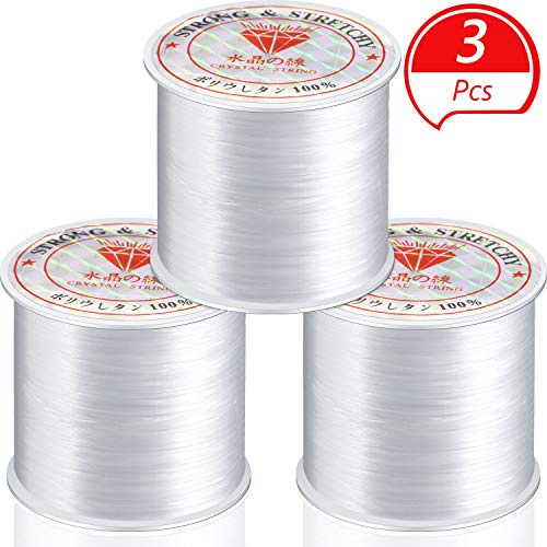 WILLBOND 3 Rolls Elastic Bracelet String Cord 0.7/0.8/1 mm Elastic String Stretch Bead Cord for Jewelry Making Necklace Bracelet Beading Thread (55 Yards)