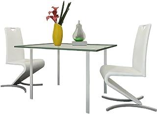 Tidyard Sillas de Comedor para Cocina Cantilever en H Cuero Artificial Pack de 2, 44 x 62 x 101 cm Blanco