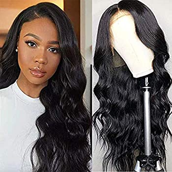 Ucrown Hair Lace Front Wigs Brazilian Body Wave Human Hair Wigs for Black Women  16 inch  150% Density Pre Plucked with Baby Hair Natural Black