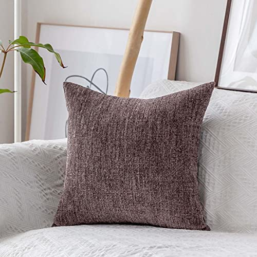 Home Brilliant Decorative Pillow Case Euro Sham Covers Striped Velvet Chenille Plush Throw Pillow Cover for Couch, (66x66 cm, 26inch), Brown