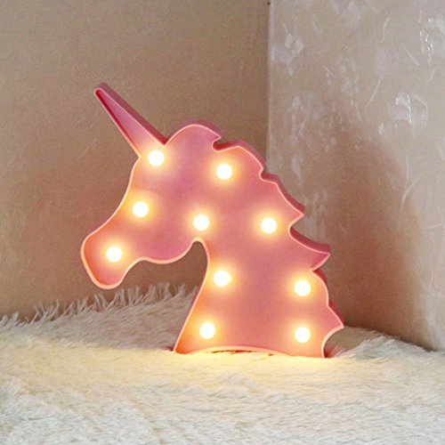 3D Flamingo LED Lámpara decorativa Marquee Signos Carta Flamingo Night Light Decoración de la pared para la sala de estar Dormitorio Home Christmas By Morkka (Unicornio Cabeza Rosa)