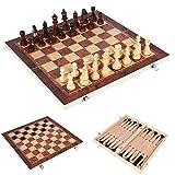 LAANCOO 44 * 44cm 3 en 1 de ajedrez Plegable de Madera de Color de ajedrez con el Tablero de ajedrez para Principiantes Grande Niños Adultos
