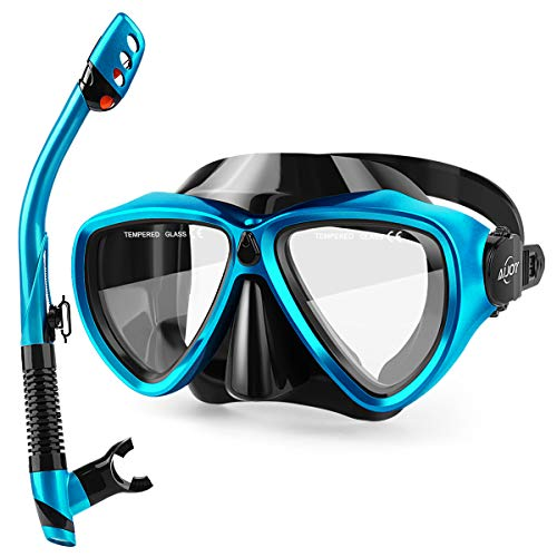 AiJoy Dry Top Snorkel Set Tempered Glass Diving Mask AntiFog Lens Snorkeling Set for Adult and Youth