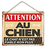 Plaque Décorative en Métal 20x20 cm – Attention au Chien