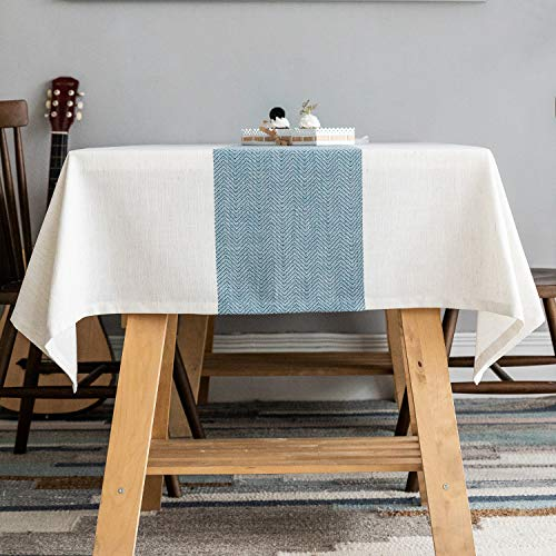 Zerohub Tablecloth, Rectangle Wrinkle-Free Dust-Proof Spill-Proof Polyester Linen Table Cover for Kitchen Dining Tabletop Decoration, Blue, 53x86 Inch