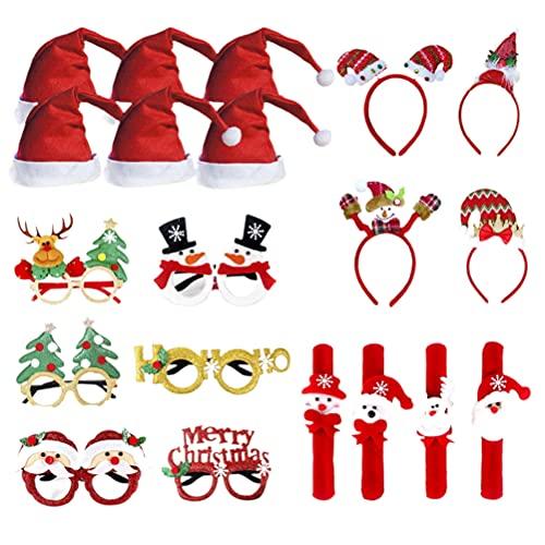 Sombrero de Navidad Juego de Pulseras y Diadema Juego de Vasos de Navidad Decoraciones para Fiestas de Navidad Aros de Pelo de Navidad Lindos Suministros para Fiestas de Navidad