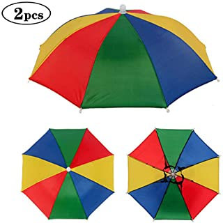 Minelife 2 Pack Rainbow Umbrella Hat Fishing Umbrella Hat, Foldable Colorful Umbrella Headwear, Sun-rain Umbrella Hat for ...