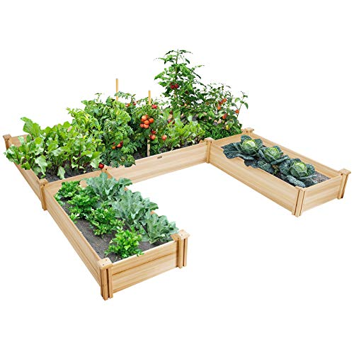 Giantex U-Shaped Raised Garden Bed, Wood Raised Garden Planter Box for Vegetables and Flowers, Easy Assembly, Garden Container for Backyard, Patio, Balcony (92.5' Lx95 Wx11 H)