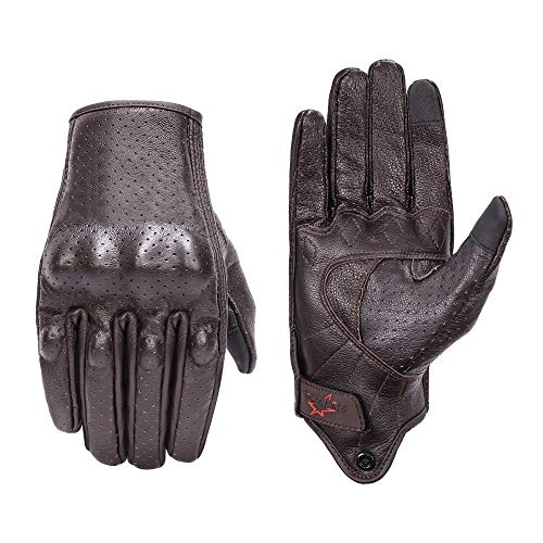 Men's Brown Leather Motorcycle Gloves With Touchscreen Finger
