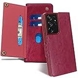 Galaxy S21 Ultra ケース 6.8 インチ 対応 FYY ワイヤレス充電 高級PUレザー 手帳型 スマホケース カード収納 サイドマグネット 財布型 耐衝撃 (ワインレッド)