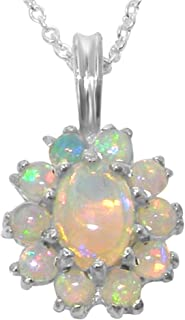 Ladies Solid 925 Sterling Silver Natural Opal Oval Pendant Necklace