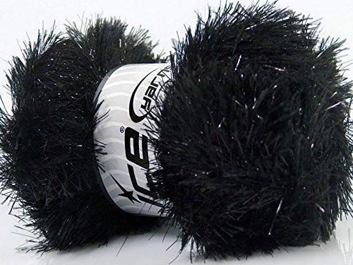Large 100 Gram Skein Black Eyelash Dazzle Metallic Eyelash Yarn
