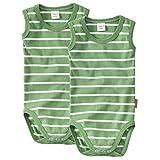 WELLYOU Conjunto de 2 Bodys sin Mangas para bebés/niños, 100% algodón, Conjunto de 2 Color Verde con Rayas Blancas. Tallas 104-134 (128-134)