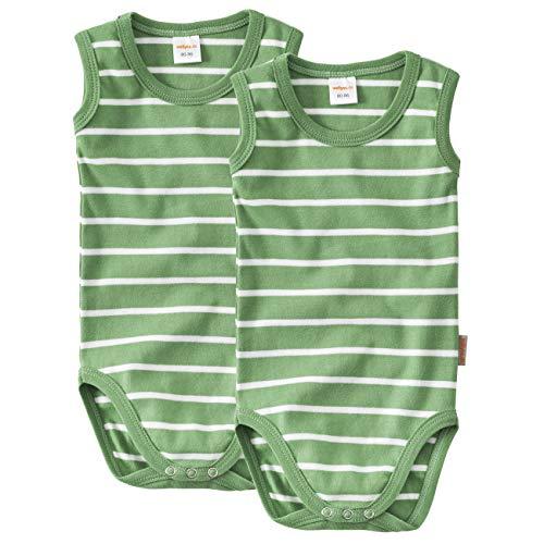 wellyou Baby und Kinder Doppelpack Babybody ohne Arm mädchen und Junge aus 100% Baumwolle, Body 2er Set in grün weiß gr 104-110