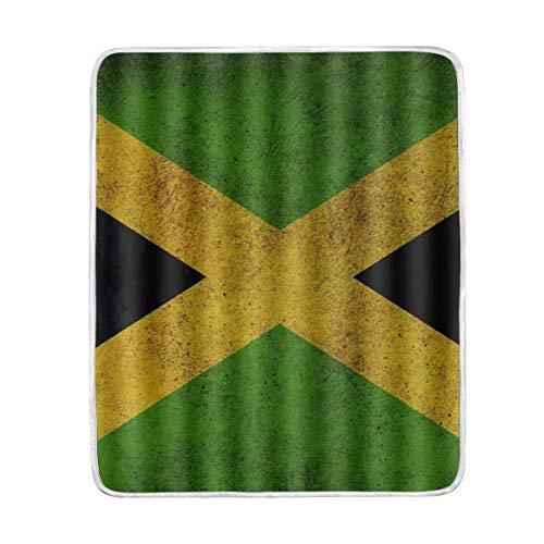 WH-CLA Fleece Blanket Bandera De Jamaica Vintage Todas Las Estaciones Imprimir Decorativo Cálido Regalo Suave Manta De Franela Personalizada 102X127Cm Cozy Lightweight Throws Mantas para