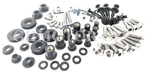 GHMotor Complete Fairing Bolts Fasteners Screws Kit Set MADE IN USA for 2002 2003 2004 2005 KAWASAKI ZZR1200 Silver