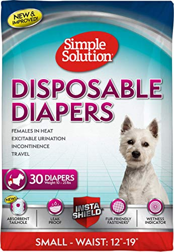 Simple Solution Disposable Dog Diapers for Female Dogs | Super Absorbent Leak-Proof Fit | Females in Heat, Excitable Urination, Incontinence, or Puppy Training | Small | 30 Count, White (11282ONL)