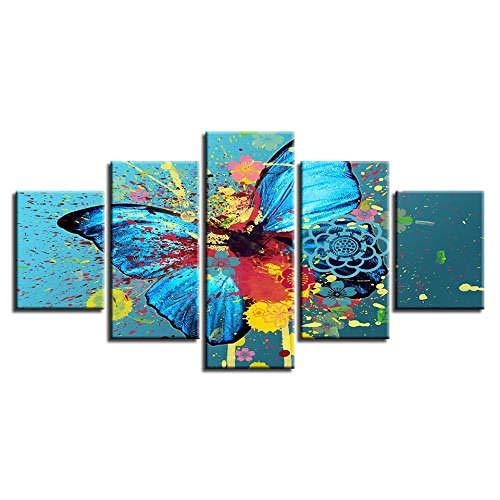 QMCVCDD Cuadros En Lienzo Póster De Impresión 5 Piezas De Arte De Pared para La Sala De Estar Dormitorio Decoraciones para El Hogar Mariposa Colorida/Arte De La Pared
