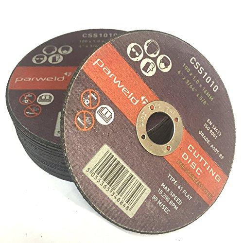 Parweld Trennscheiben aus Edelstahl, 100 mm x 1 mm, dünn, 16 mm Bohrung, 50 Stück