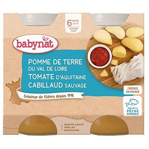Babybio - Petits Pots Pomme de Terre du Val de Loire Cabillaud 2x200 g - 6+ Mois - BIO - Lot de 3