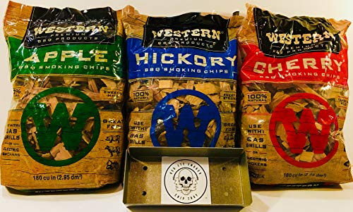 Western Popular BBQ Smoking Wood Chip Variety Pack Bundle 3  Popular Flavors  Apple amp Hickory with Cherry w/Free Genuine Red Eye Smoker Chip Tray and Cool Sticker