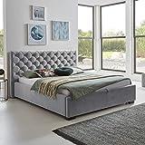 Designer Bett mit Bettkasten ELSA Samt-Stoff Polsterbett Lattenrost Doppelbett Stauraum Holzfuß schwarz (Grau, 180 x 200 cm) - 5
