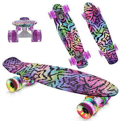 Caroma Skateboards komplett mit LED-Rädern, 56 cm Mini-Cruiser Skateboard, 22 Zoll Retro-Skateboard für Kinder Jungen Mädchen Jugendliche Erwachsene Anfänger