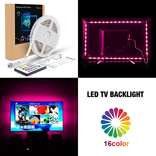 PANGTON VILLA Led Strip Lights 6.56ft for 60-70in Television USB TV Backlight Kit with 24key Remote, HDTV Bias Lamp