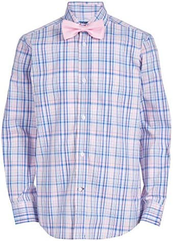 Tommy Hilfiger Boys Big Long Sleeve Dress Shirt with Bow Tie Bermuda Pink 10 product image