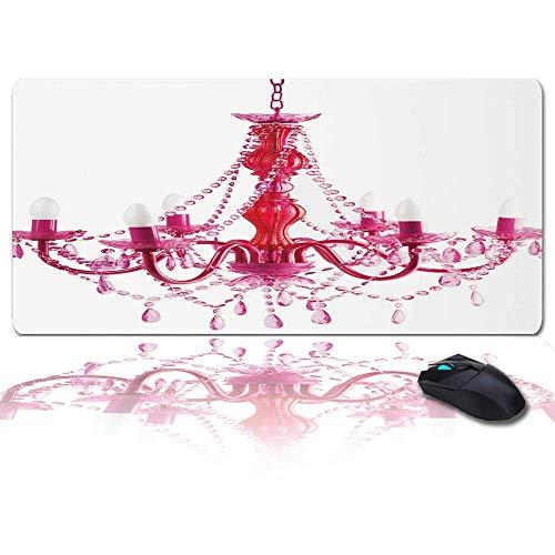 Großes Gaming-Mauspad Volles Schreibtischpad - Stilvolles Kronleuchter-Rosa-Muster, rutschfeste Gummibasis Ergonomische XXL-Tastaturmatte für Laptop- / Computer- / Schreibtischzubehör