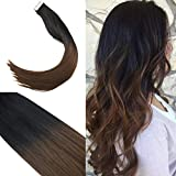 Sunny más oscuro marrón con caramelo rubio 100% Remy extensiones cabello liso cinta de...