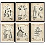 MONOKO® Poster da cucina con immagine di brevetto, per soggiorno, sala da pranzo, set da 6 pezzi senza cornice (set vino, brevetto, vintage, 6 x A3 (29,7 x 42 cm)