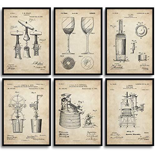 MONOKO Juego de 6 pósteres de patente de vino para la cocina o el salón, sin marco, diseño vintage, 6 x A4 (21 x 29,7 cm)