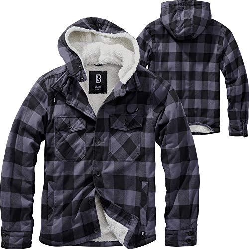 Brandit Lumberjacket Hooded, Black/Grey, Größe 5XL